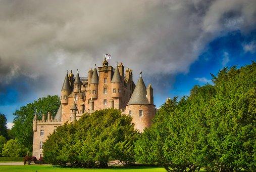 Castle, Scotland, Park, Landscape, Architecture
