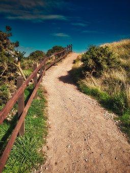 Away, Slope, Railing, Rise, Sky, Hike, Nature, Target