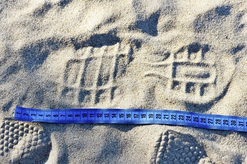 Measure, Blue Tape, Footprint, Sand, Beach, Centimeters