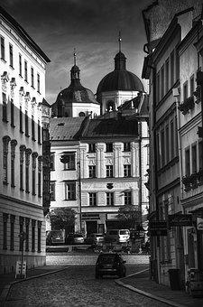 Olomouc, Street, St, Michal, Black And White, City