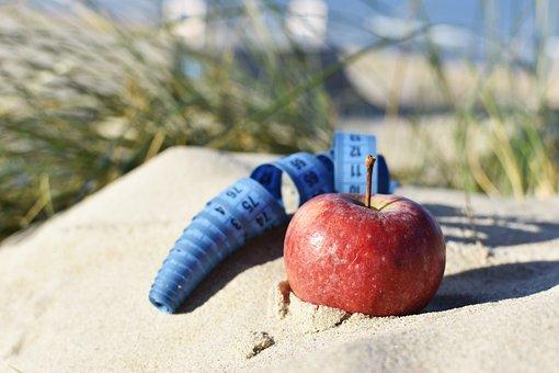 Apple, Blue Tape, Sand, Weight Lost, Balance, Diet