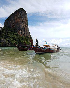 Railay, Thailand, Beach, Krabi, Sky, Boat, Sea