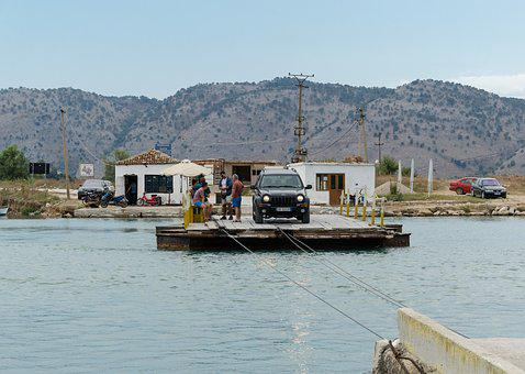 Raft, Albania, Butrint, Transport, Auto, Summer, Ferry
