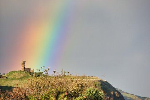 Castle, Rainbow, Ruin, Burgruine, Northern Ireland
