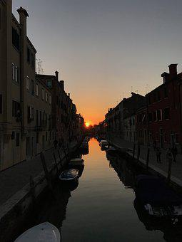 Sunset, Venice, Italy, City, Channel, Tourism, Travel