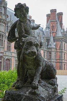 Chateau, Trevarez, Castle, Statue, Sculpture, Dog