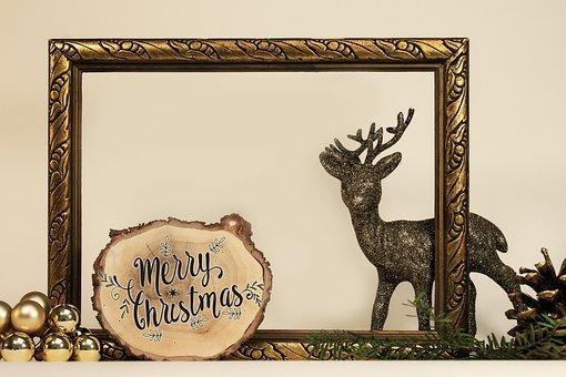 Gold Frame, Hirsch, Gold, Glitter, Christmas