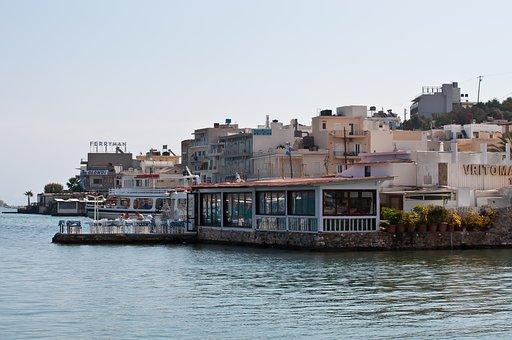 Greece, Crete, Port, City, Restaurant, Coast