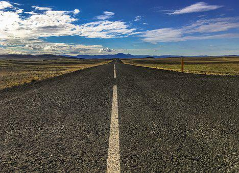 Way, Iceland, Landscape, Road, Sky, Mountains, Clouds
