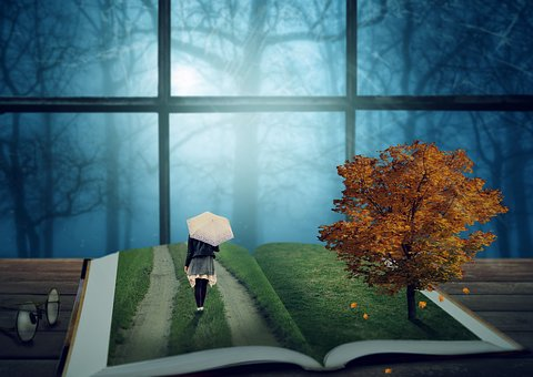 Fantasy, Book, Tree, Girl, Screen, Forest, Window