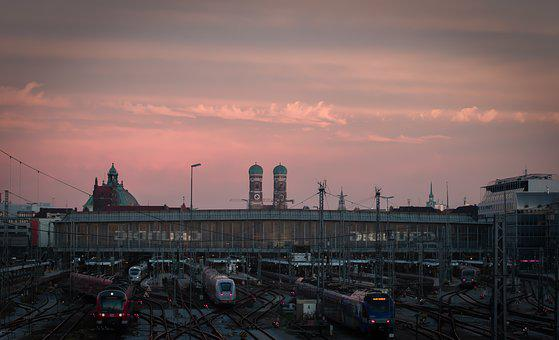 Munich, Frauenkirche, Central Station, Sunset, Train