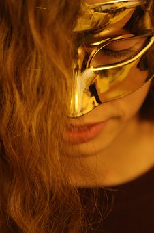 Mask, Woman, Gold, Hidden, Secret, Girl, Portrait, Face