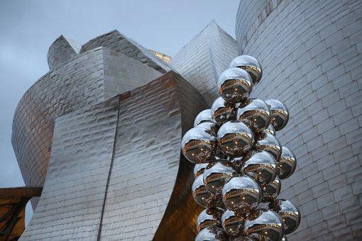 Guggenheim, Gehry, Bil, Bilbao, Museum, Sky, Panorama
