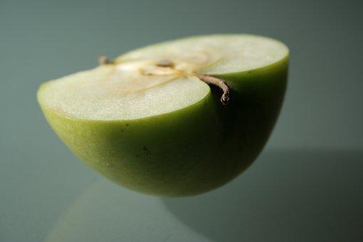 Apple, Half, Green Apple