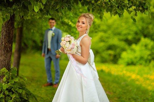 Bride, Happy, Smile, Bridal Bouquet