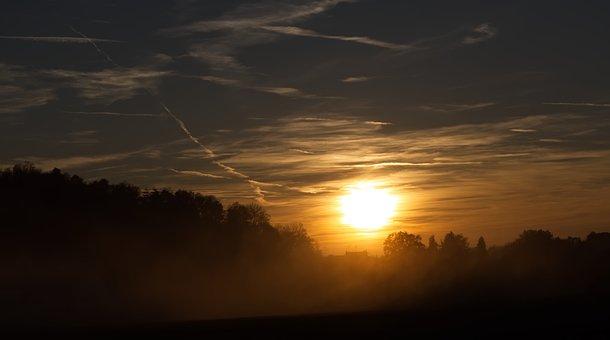 Sun, Fog, Landscape, Nature, Sky, Sunset, Autumn, Path