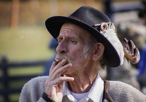 Man, Smoke, Roast, Smoking, Tobacco, Hat, Feathers
