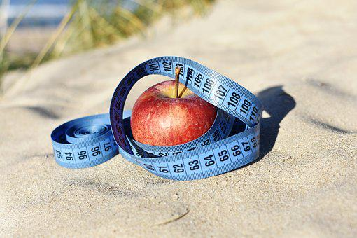 Red Apple, Measure, Blue Tape, Apple Outside