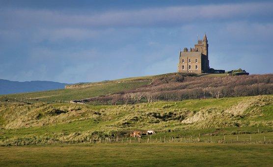 Castle, Ireland, Landscape, Middle Ages, Building