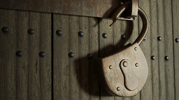 Old Gate, Door, Padlock, Metal, Rusty, Open, Iron, 3d