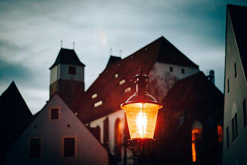 City, Alley, Night, Street Lamp, Light, Church, Road