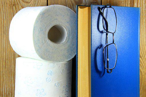 Toilet Paper, Roll, Wood, Wall, Toilet, Book, Blue
