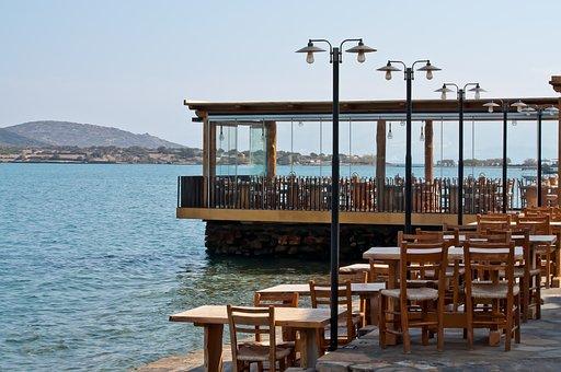 Greece, Restaurant, Sea, Water, Eat, Street Light