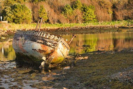 Ship Wreck, Wreck, Ireland, Galway, Stranded, Oran More