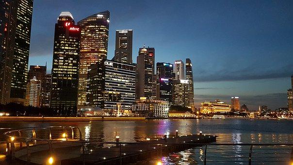 Singapore, Night, City, Architecture, Skyscraper, Tower