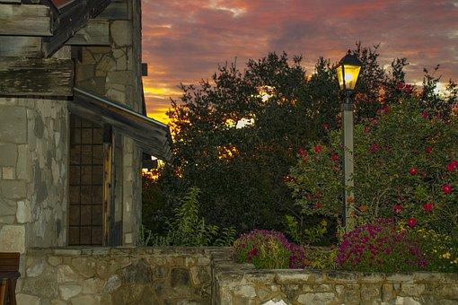 Sunrise, Flowers, Street Lamp, Stone Wall, Sky