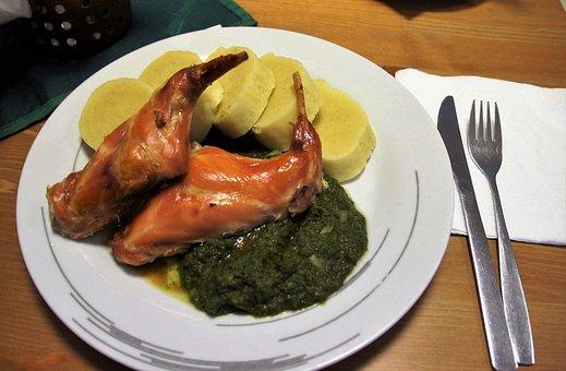 Baked, Rabbit, Thigh, Roast, Potato, Dumpling, Spinach