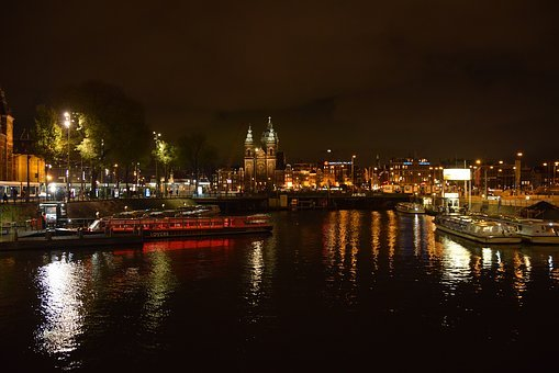 Amsterdam, Night, Holland, Netherlands, Channel, Travel