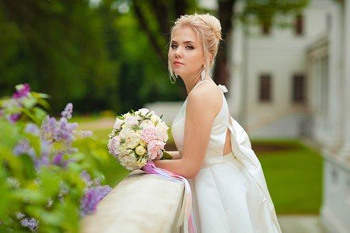 Wedding, Bride, Stand By, Bridal Bouquet, Wedding Dress