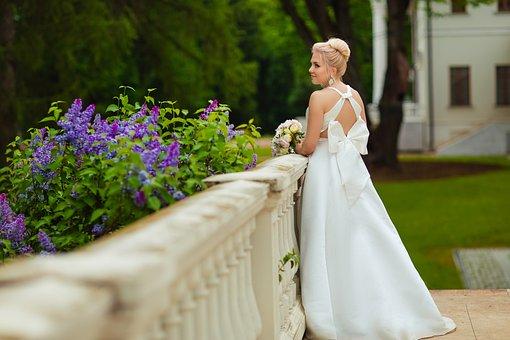 Wedding, Bride, Bouquet, Wedding Dress, Smile