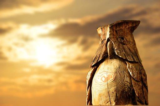 Owl, Eagle Owl, Bird, Animal, Wood, Holzfigur, Art