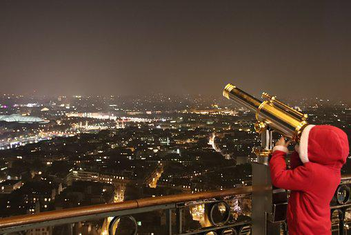 Paris, Eiffel Tower, Child, Night, Magic, Monoculars