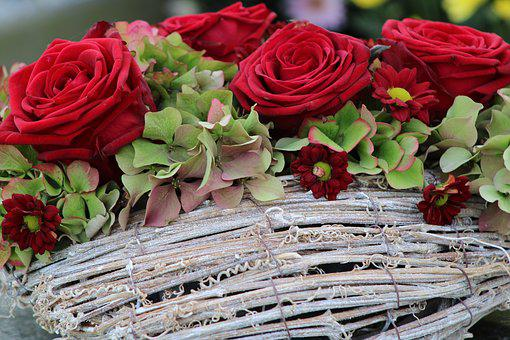 Red Roses, Roses, Bouquet, Congratulations, Flowers