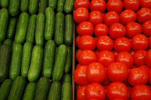 Cucumbers, Tomato, Fruit, Produce, Vegetables, Health