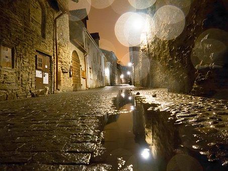 Tallinn, Night, Rain, Puddle, Estonia, City, Lights