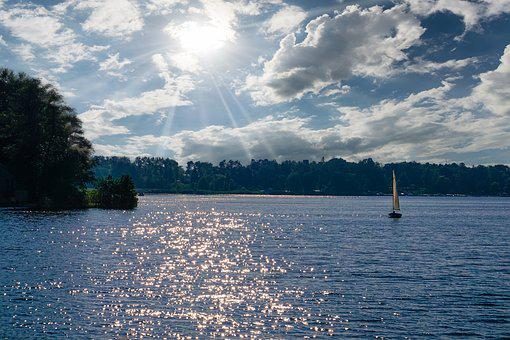 Evening, Lake, Water, Sailing Boat, Sky, Landscape