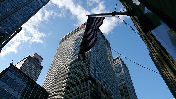 Skyscrapers, United States, America, Architecture, Flag
