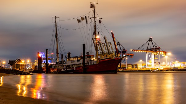 Elbe, Hamburg, Evening, Lights, Dark, Water, Maritime