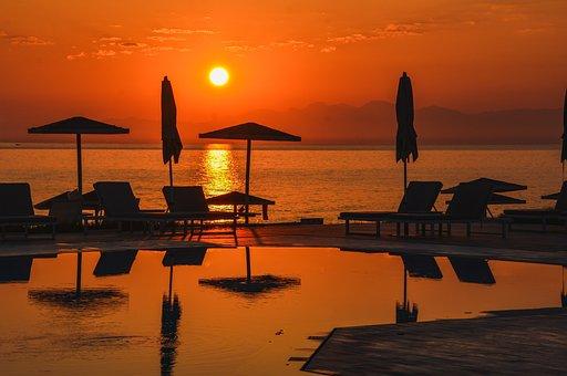 Sun, Sea, Sunrise, Swimming Pool, Parasol, Lounger