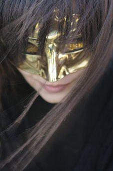 Portrait, Mask, Woman, Yellow, Gold, Face, Girl, Young