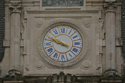 Clock, Time, Minutes, Town Hall, Limoges