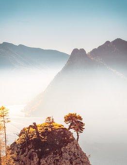 Mountain, Autumn, Landscape, Lake, Austria, Traunstein