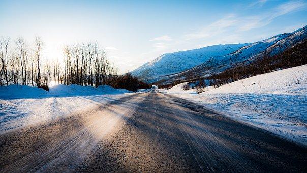 Frozen, Mountain, Norway, Perspective, Road, Shadow