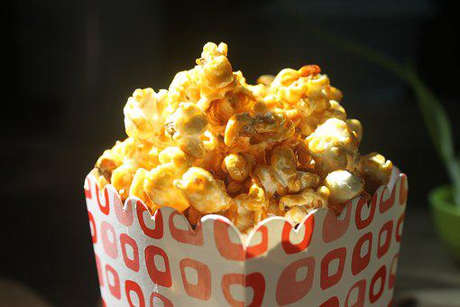 Caramel Popcorn, Popcorn Box Red Dot, Snack, Movie Time
