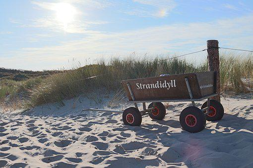 Stroller, Spiekeroog, Dunes, Island, North Sea