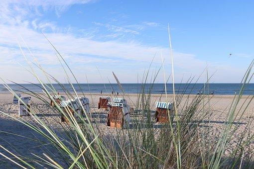 Spiekeroog, Beach Chair, Holiday, North Sea, Wadden Sea